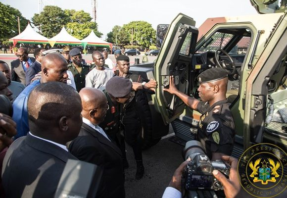 President Akufo-Addo Presents 33 Armoured Personnel Carriers, 51 More Vehicles To Armed Forces